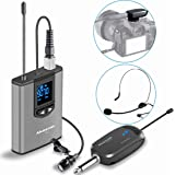 Wireless Lavalier Headset Microphone System- Alvoxcon Dual Wireless Headset Mic for IPhone, DSLR Camera, PA Speaker, Youtube, Podcast, Conference, Vlogging, Church, Recording, Interview, Teaching