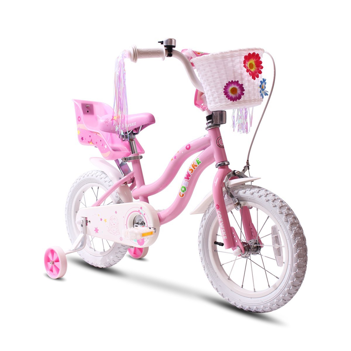 COEWSKE Kid's Bike Steel Frame Children Bicycle Little Princess Style 14-16 Inch with Training Wheel(14'' Pink)