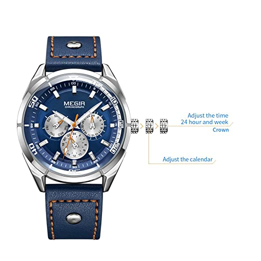 Amazon.com: MEGIR Mens Analogue Quartz Luminous Watch with Stylish Casual Blue Leather Strap ML2072GBE-2: Watches