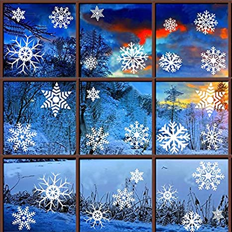 BTOOP Christmas Window Clings - Reusable No Mess Christmas Tree Snowflake Decals Window Stickers for Christmas Ornaments Winter Decoration Or Home Decor Assorted Designs (Green Christmas Tree) 14541099