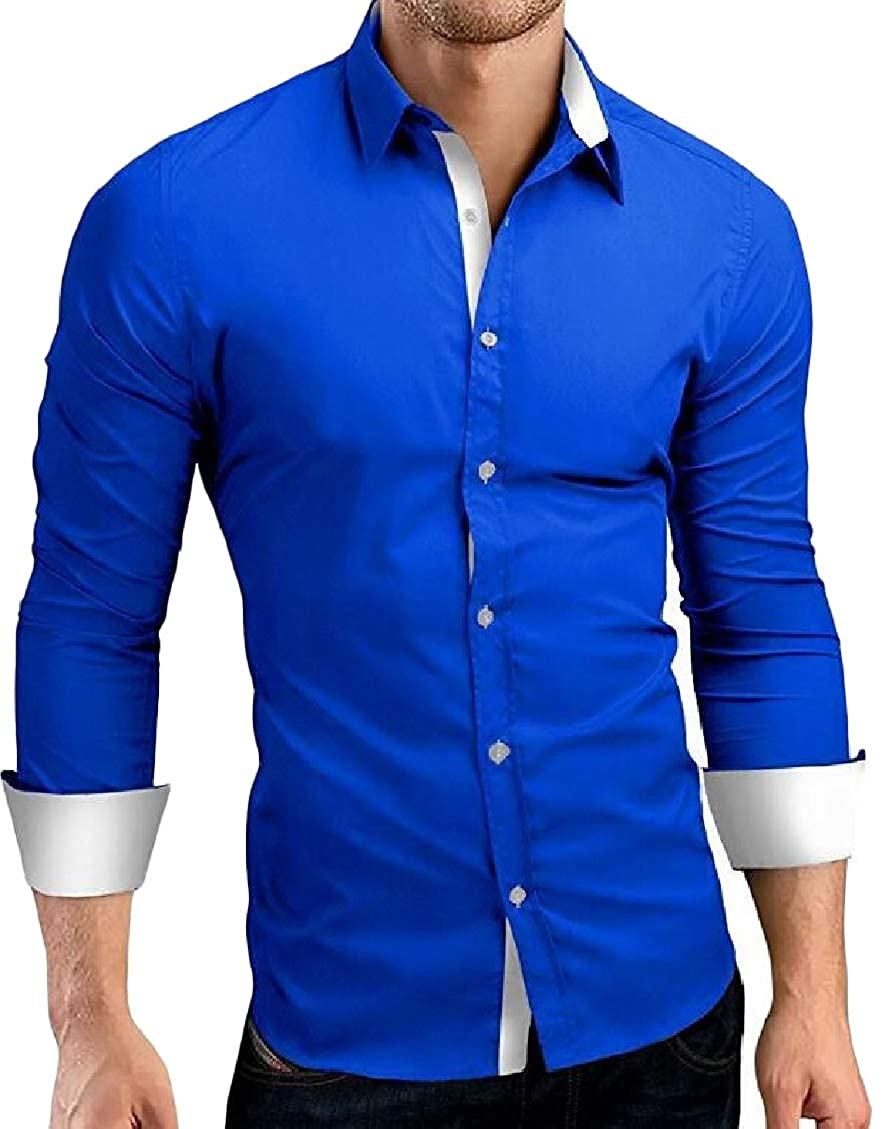 Sweatwater Mens Fashion Inner Contrast Long Sleeve Button Front Lapel Shirts