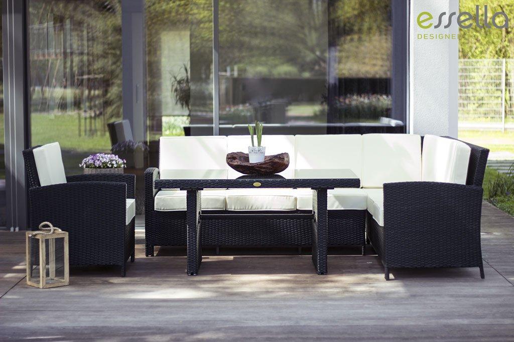 essella Polyrattan Garten-Eckbank Berlin in Schwarz TOO-Design GmbH