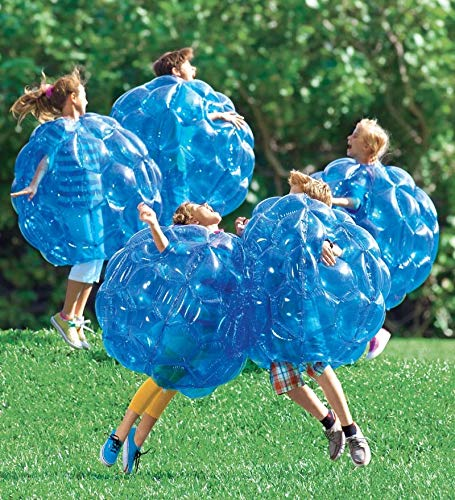 Set of 2 Blue BBOP Buddy Bumper Ball Inflatable Blow Up Giant Wearable Body Bubble Zorb Soccer Suit Heavy Duty Durable PVC Vinyl Kids Adults Physical Outdoor Active Play 36'' Inches Diam by HearthSong (Image #2)