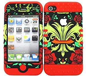 SHOCKPROOF HYBRID CELL PHONE COVER PROTECTOR FACEPLATE HARD CASE AND RED SKIN WITH MINI STYLUS PEN. KOOL KASE ROCKER FOR APPLE IPHONE 4 4S SAINTS FLEUR RD-TE335