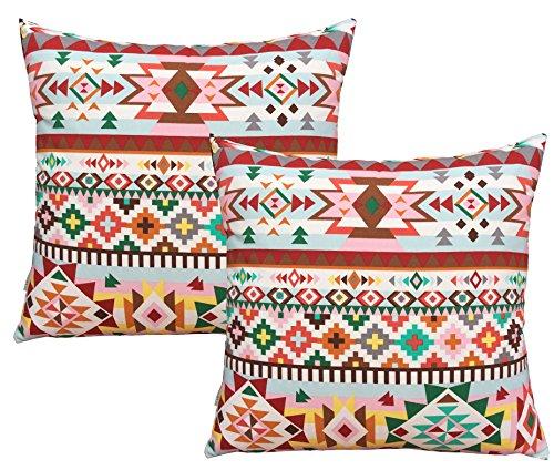 BLUETTEK Cotton Linen Decorative Pillowcase Square Throw Pil