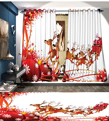 Santa Room Darkening Wide Curtains Abstract Frame with Xmas Balls and Snowflakes Flying Reindeer Carriage Customized Curtains Pale Brown Red (Santa's Reindeer Make This Noise)