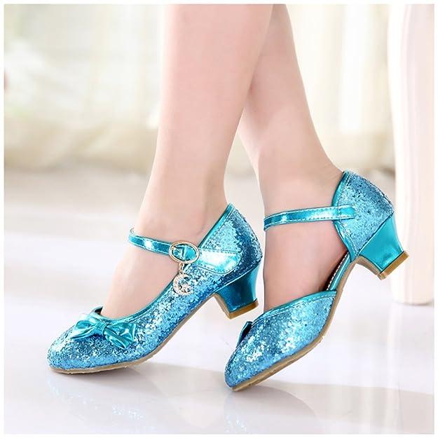 Free Fisher Antideslizante Merceditas Zapatos de boda fiesta baile, diseño brillante con tacón bajo para niñas, Azul, 216