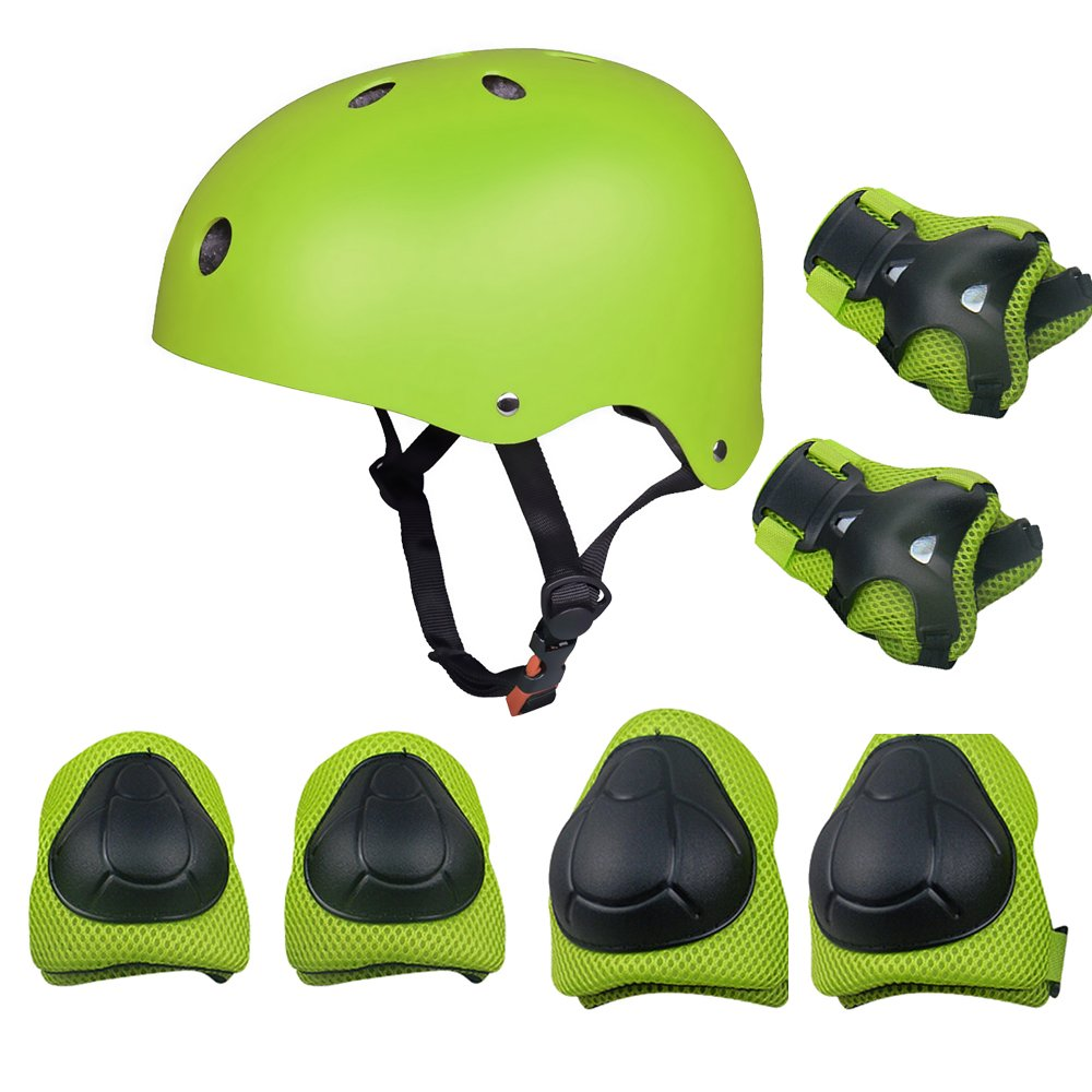 Kids Sports Knees Elbows Wrists Head Support Protection Helmet Set for Unisex Toddler Children Extreme Sports Youth Roller Bicycle BMX Bike Skateboard Protector Guards Pads -7Pcs(Green) by KUYOU