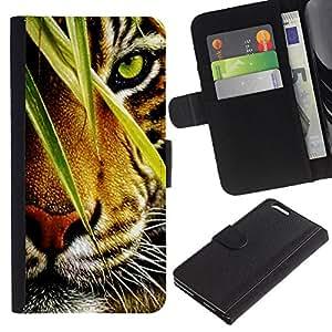 "Apple (5.5 inches!!!) iPhone 6+ Plus , la tarjeta de Crédito Slots PU Funda de cuero Monedero caso cubierta de piel ("" Tiger Jungle Forest Rainforest Eye Feline"")"