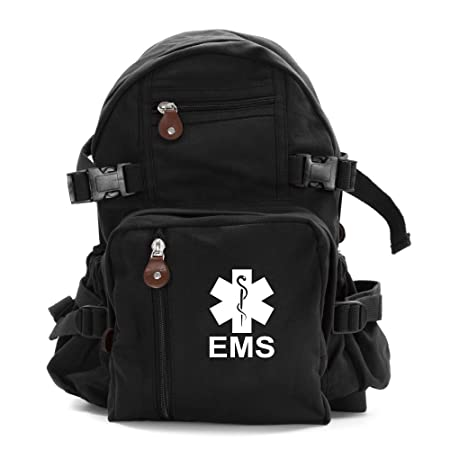 EMS Emergency Medical Services Army Sport Heavyweight Canvas Backpack Bag in Black White, Small