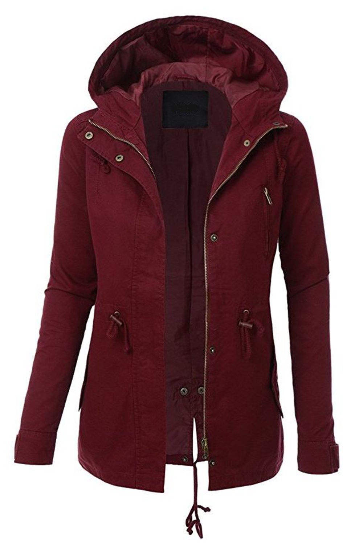 FASHION BOOMY Womens Zip Up Military Anorak Jacket W/Hood (Small, Burgundy)