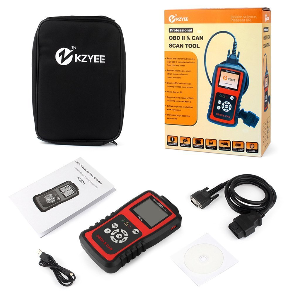 Kzyee KC401 Universal OBD2 Scanner, Enhanced OBD II Car Code Reader/Eraser Supports ABS Diagnostic Scan Tool with TFT color Screen, for Diesel and Gasoline Engine 12V Vehicles by Kzyee (Image #7)