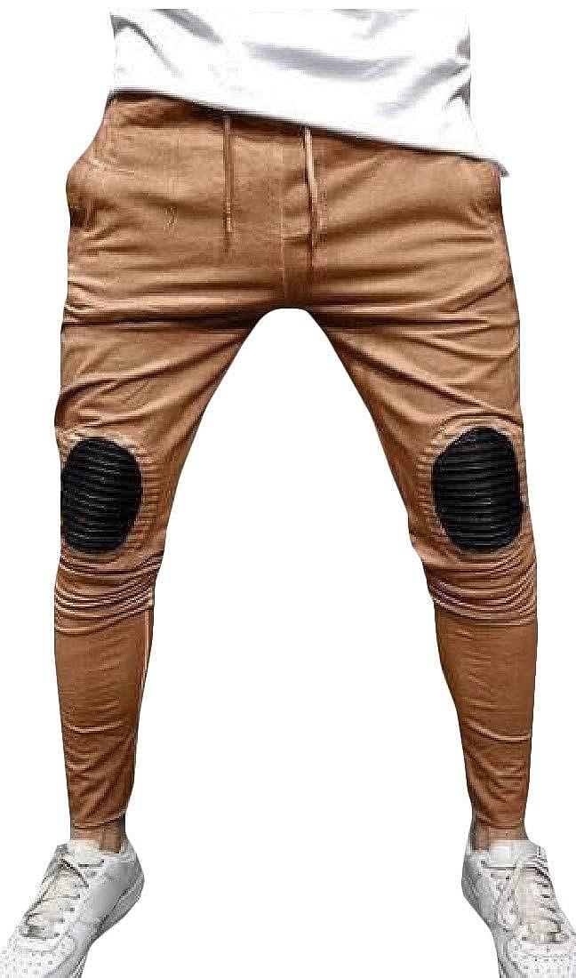 Wofupowga Mens Loose Drawstring Elastic Waist Ruched Patch Jogger Pants