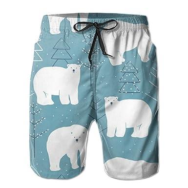 1987716bfa Amazon.com: Polar Bear Mens Quick Dry Swim Trunks Beach Shorts: Clothing