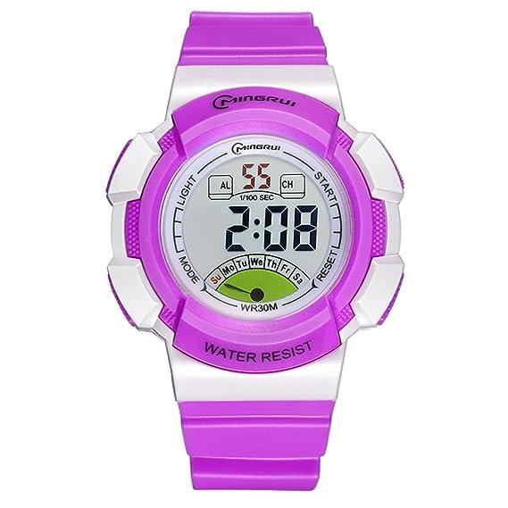 [Niño] Reloj Digital Resistente al Agua [Movimiento] Luminoso Estudiantes Reloj Pin Hebilla Correa -C: Amazon.es: Relojes