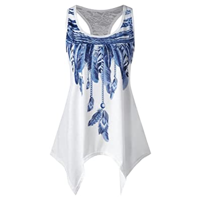 Fashion Womens Casual Lace Panel Asymmetrical Feather Print Vest Tank Tops