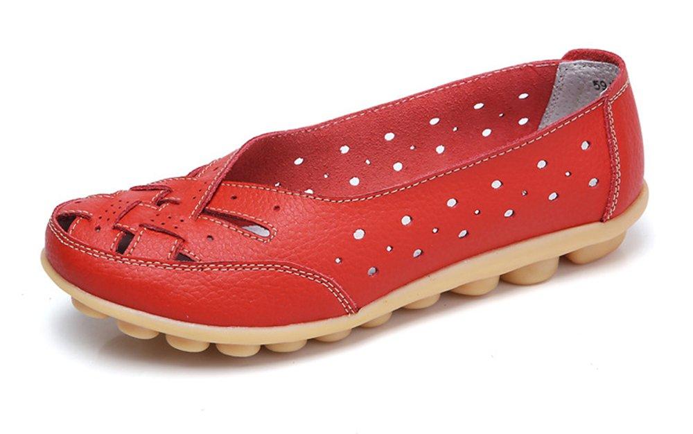 Gaatpot Damen Leder Schuhe Mokassin Bootsschuhe Leicht Loafers Flache Fahren Slippers Sommer Schuhe Frauen  37.5 EU|Rot