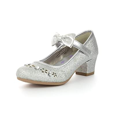 bfde7b77072 Lilley Sparkle Girls Silver Easy Fasten Heels