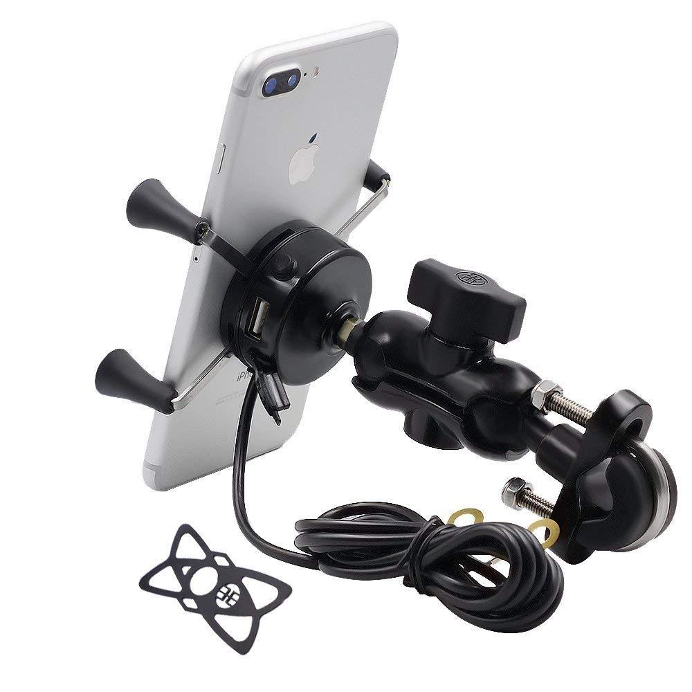 TR Turn Raise Aluminio Moto Soporte de Montaje con 2.1A Cargador USB Toma para Teléfono Móvil de 3.5 a 6 Pulgadas, GPS