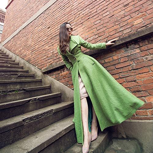 Sezione Giacca A Inverno Slim Lunga Donna Fila Qiongqiong Cashmere autunno Lana primavera Singola E s Vento America Europa Misto Fibbia Verde 8P5x5wq0