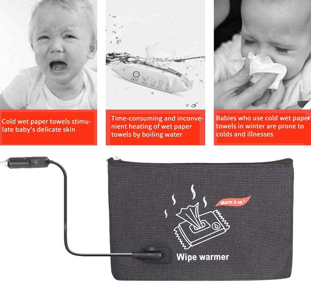 Portable Car Wipes Heater Baby Wipes Warm Bag Thermostat