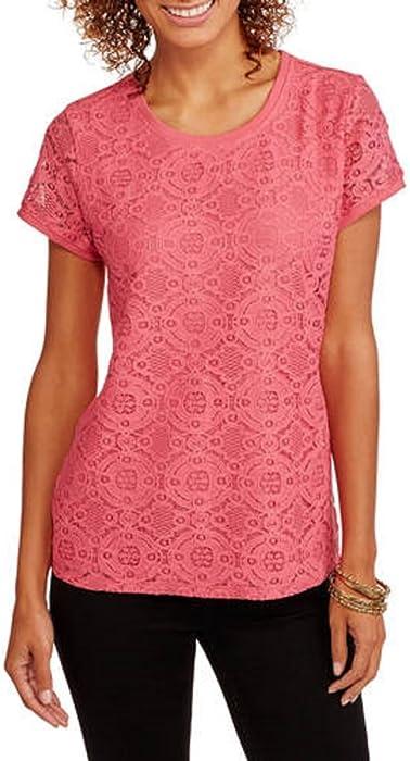 797c6cdf339 Faded Glory Women's Short Sleeve Lace Front T-Shirt (Medium, Melon)