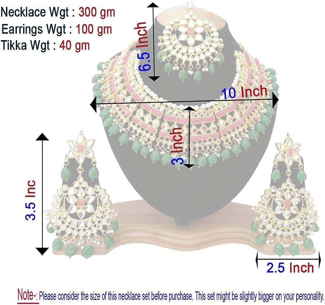 Retailbees Finekraft Meena Kundan Indian Bridal Wedding Designer Gold Plated Pearls Choker Necklace Jewelry Set