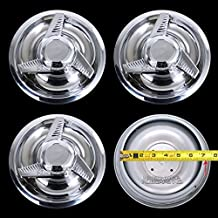 4 New Chevy GM 3 Bar Spinners Rally Wheel Center Hub Caps Rim 5 Lug Nut Covers 14x6,14x7,15x6,15x7,15x8 RALLY WHEELS