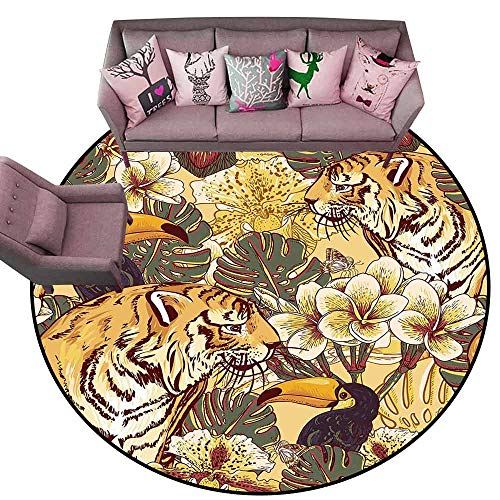 Large Floor Mats for Living Room Colorful Tiger,Tropical Rendition of Symbol of Bengal and Toucan Lively Colors Harmonious Nature,Multicolor Diameter 66
