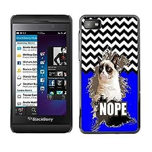 - Chevron Grumpy Cat - - Monedero pared Design Premium cuero del tir¨®n magn¨¦tico delgado del caso de la cubierta pata de ca FOR Blackberry Z10 Funny House