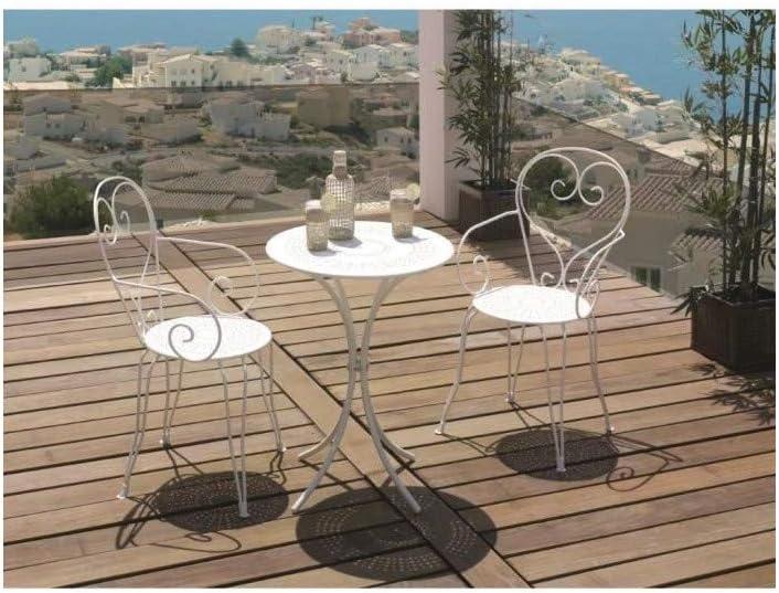 Set Mesa De Jardín Romántico en Hierro Forjado 60 cm + 2 sillas – Blanco: Amazon.es: Coche y moto