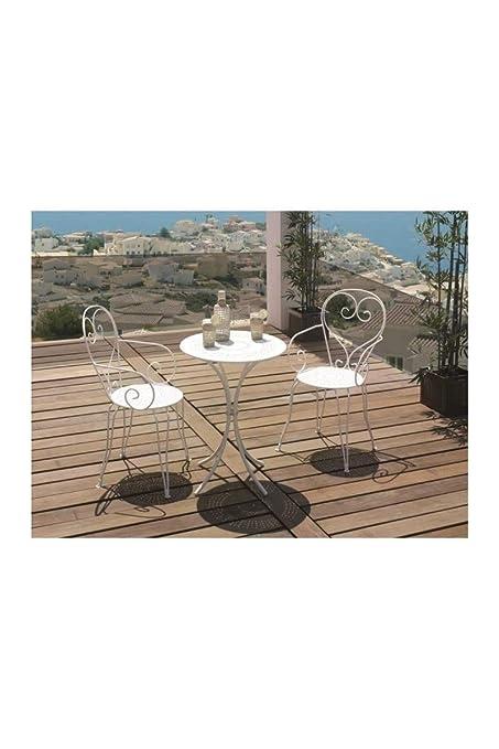 Set Mesa De Jardín Romántico en Hierro Forjado 60 cm + 2 sillas ...