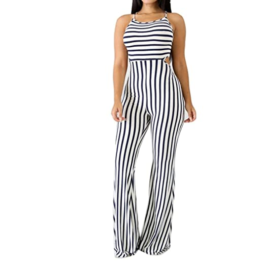 d64ff24eeed Amazon.com  Women Jumpsuit Sexy Sleeveless Stripe Backless Playsuit Bodycon  Party Trousers by-NEWONESUN  Clothing
