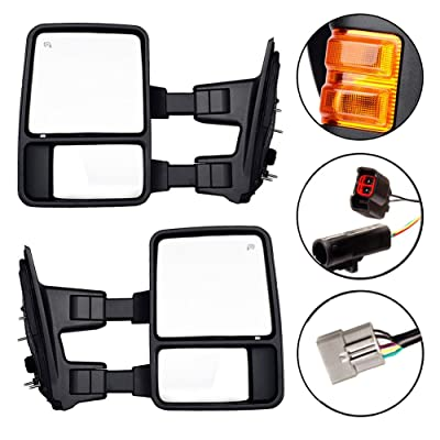 DEDC Towing Mirrors For 1999-2007 Ford Super Duty F250 F350 F450 Side Mirror Pair Power Heated With Signal Light (Upgrade to 08 Superduty Retrofit) 1999 2000 2001 2002 2003 2004 2005 2006 2007: Automotive