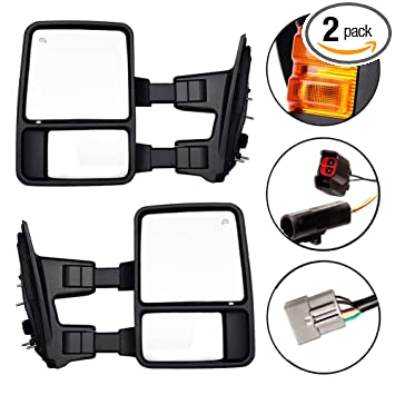 DEDC Towing Mirrors For 1999-2007 Ford Super Duty F250 F350 F450 Side on