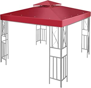 Flexzion 8' x 8' Gazebo Canopy Top Replacement Cover (Red) - Dual Tier Up Tent Accessory with Plain Edge Polyester UV30 Protection Water Resistant for Outdoor Patio Backyard Garden Lawn Sun Shade