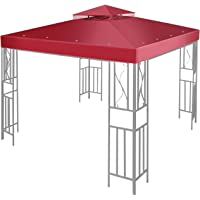 Flexzion 8'x8' Gazebo Top Canopy Replacement Cover (Red) - Dual Tier with Plain Edge Polyester UV30 Protection Waterproof for Outdoor Garden Patio Lawn Sun Shade