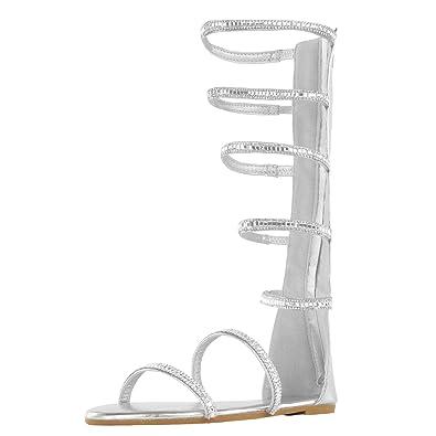 dcc764f60e525 DREAM PAIRS Women's Athena_High_Shine Silver Fashion Gladiator Design Knee  High Flat Sandals Size 5 ...