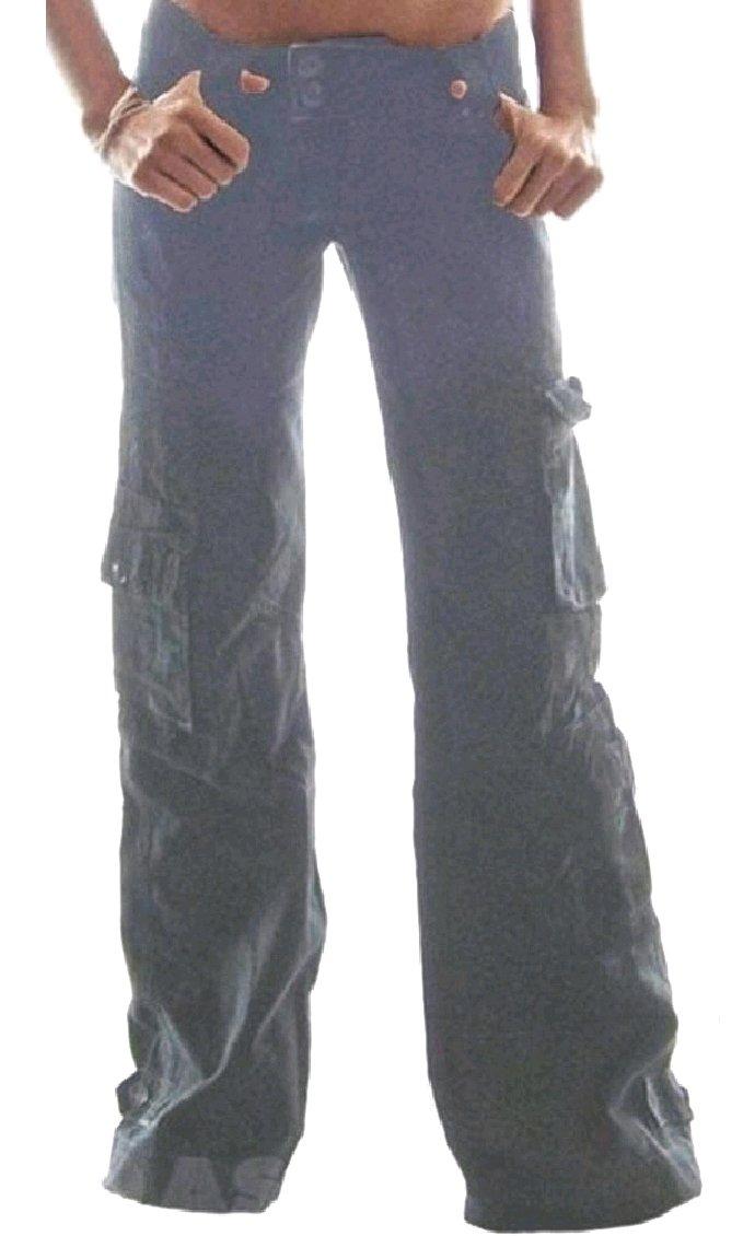 MLG Women Plus-Size Wide Leg Lounge Stylish Pocket Flare Low Waist Cargo Pants Light Grey 2XL