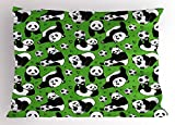 Ambesonne Soccer Pillow Sham, Funny Panda Animals Playing with Balls Hand Drawn Style Hearts and Stars, Decorative Standard Size Printed Pillowcase, 26 X 20 inches, Lime Green Black White