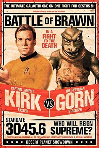 Buyartforless Star Trek Captain Kirk vs The Reptilian Gorn 36x24 Art Print Poster Battle of Brawn - in A Fight to The Death