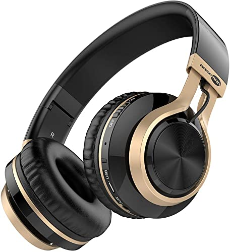Baseman Wireless Bluetooth Headphones with Mic, On Ear Lightweight Foldable Wired Headphones, Hi-Fi Stereo Earphones Deep Bass Over Ear Headphone for Music Computer Laptop TV PC Kids Black Gold