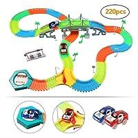 infinitoo Tracks Magique Circuit de Voiture Flexible Tracks Car | Une Piste de Course de 220 Pièces Modulable au Néon+2 Voitures Lumineuses+Accessoires | Cool Cadeau pour Enfants à Partir de 3 Ans