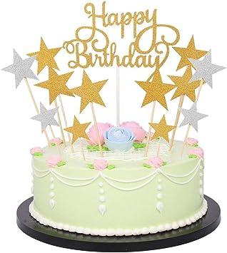 Prime Happy Birthday Monogram And Gold Silver Star Cake Cupcake Personalised Birthday Cards Veneteletsinfo