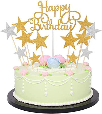 Super Happy Birthday Monogram And Gold Silver Star Cake Cupcake Personalised Birthday Cards Veneteletsinfo