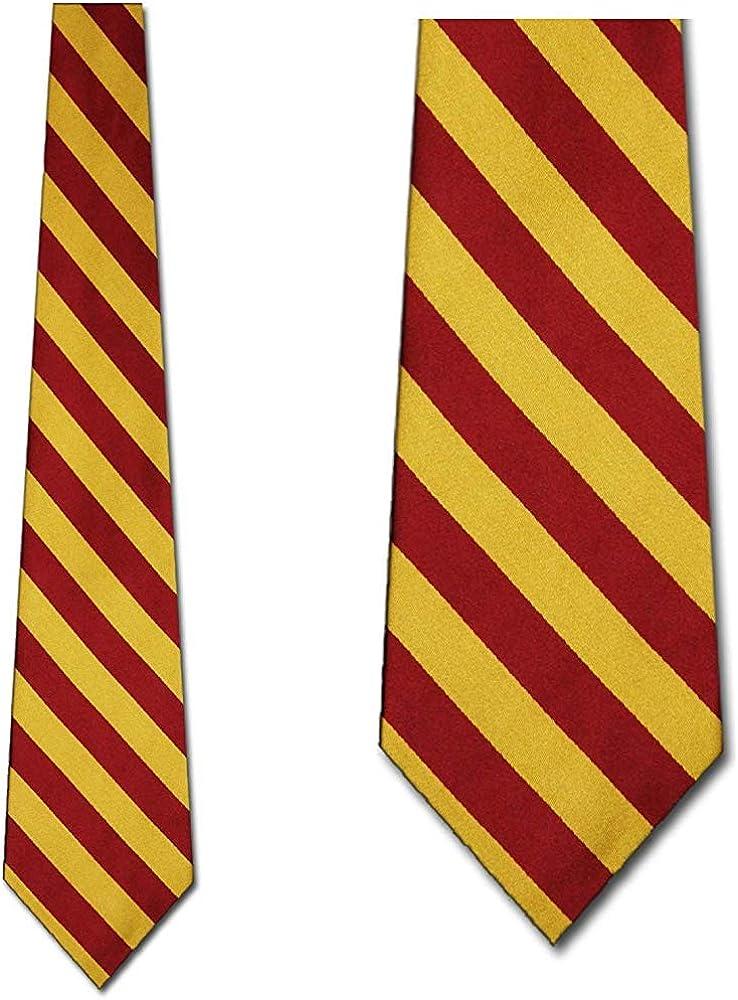 WILHJGH Corbatas de rayas universitarias burdeos y doradas a rayas ...