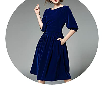 OL Style Women Blue Velvet Dress Winter Vestidos Ukraine Red Christmas Robe Longue Femme 8869,