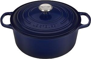 Le Creuset LS2501-2878SS Signature Enameled Cast-Iron Round French (Dutch) Oven, 7-1/4-Quart, Indigo