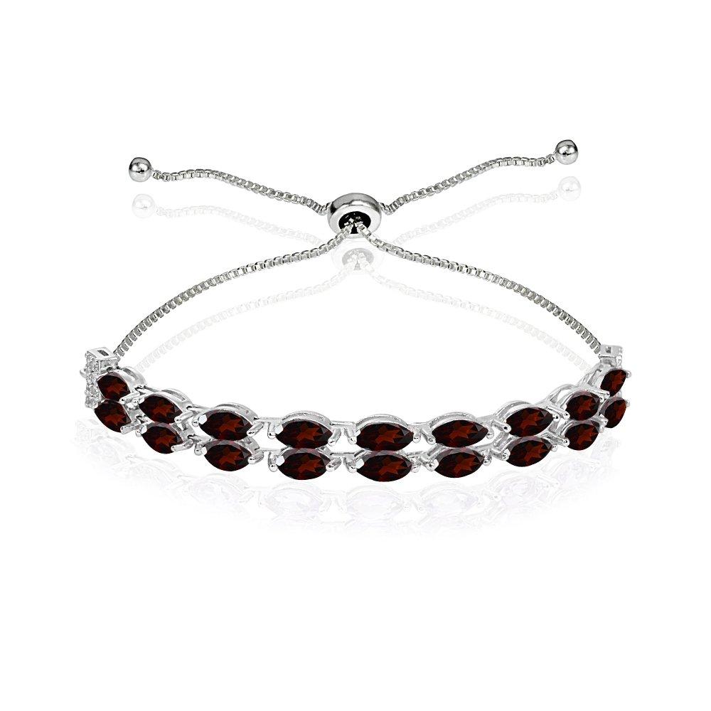 Sterling Silver Garnet & White Topaz Marquise-Cut Two Row Tennis Style Adjustable Bracelet for Women Teens Girls