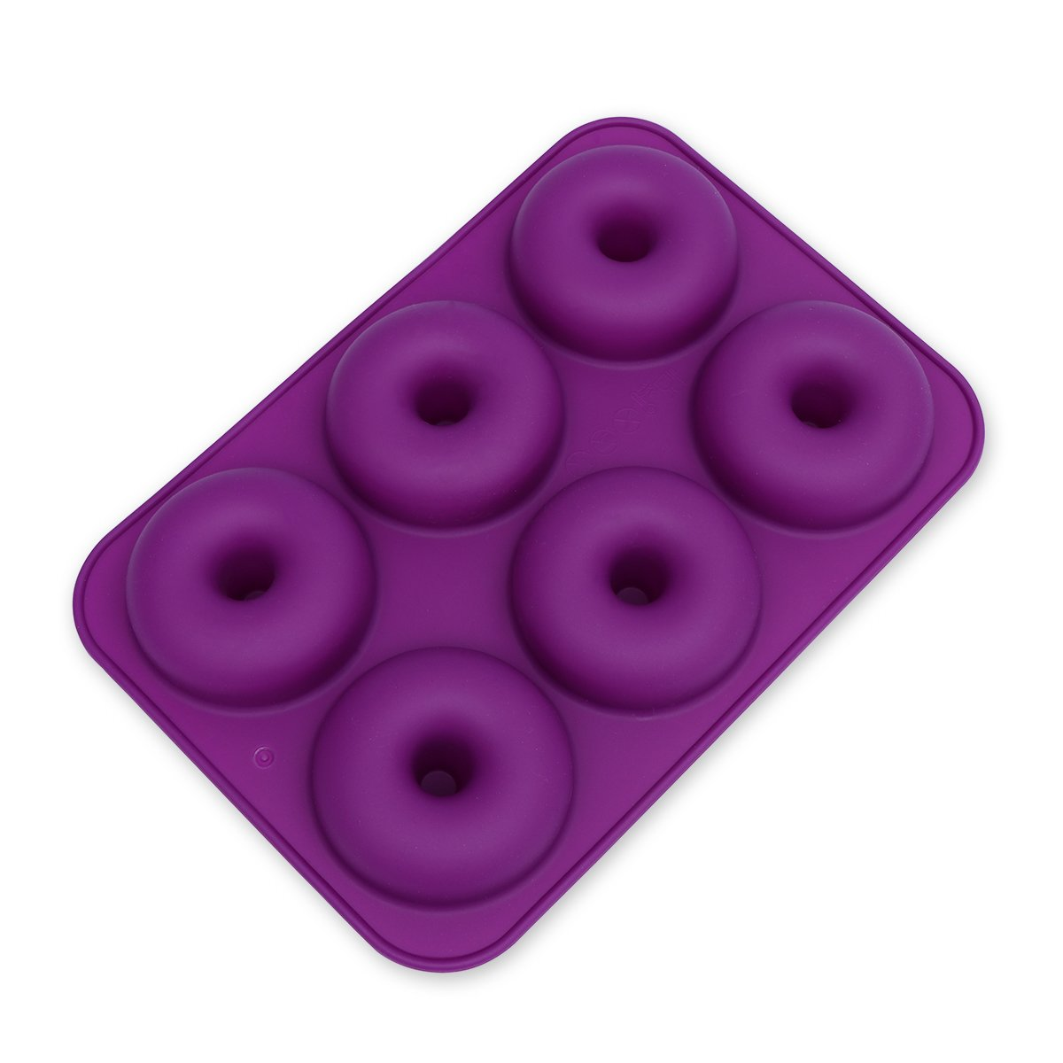 OUNONA 6-Cavity Silicone Donut Mold,Non-Stick Donut Baking Pan for Cake Biscuit Bagels Muffins (Dark Purple) by OUNONA
